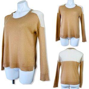Qi New York 100% Cashmere Camel Crewneck Sweater S